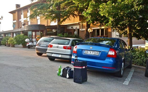 Endlich am Hotel - nach 10 Stunden im Auto