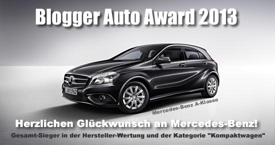 Blogger Auto Award 2013 - Gesamtsieger Mercedes