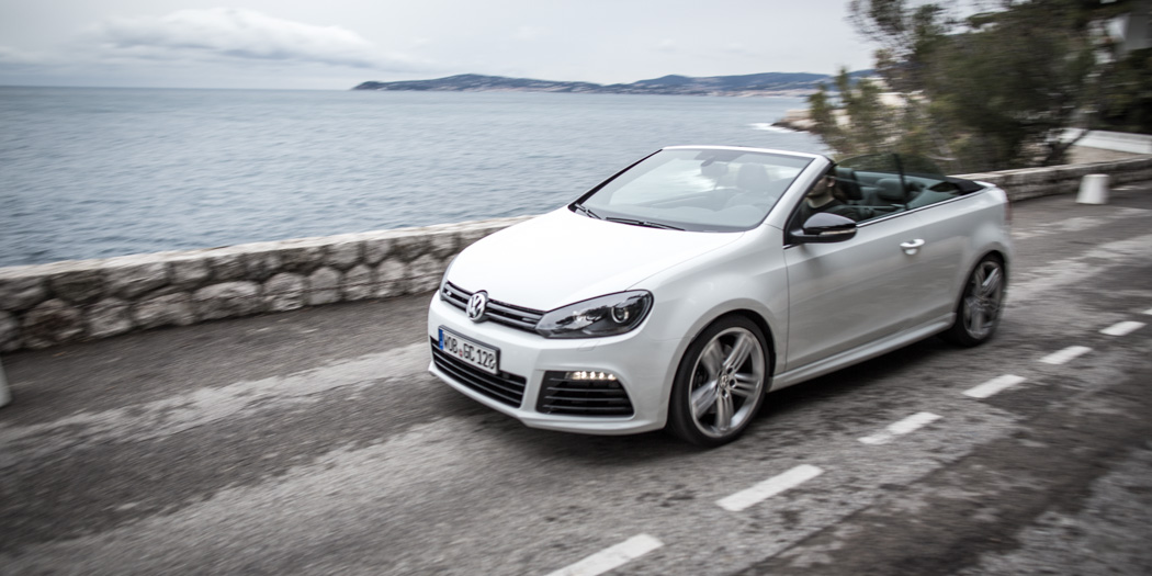 ausfahrt im vw golf r cabriolet weisser rauch am strand passion driving. Black Bedroom Furniture Sets. Home Design Ideas