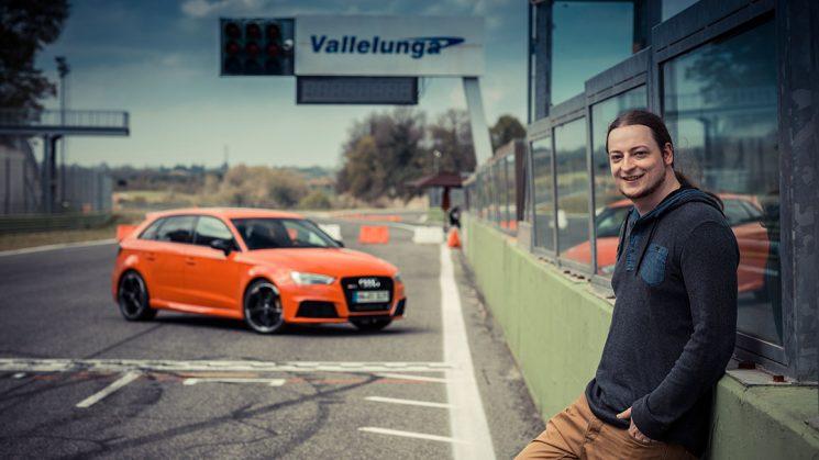 Neuer Audi RS 3 Sportback beim Tracktest/Fahrbericht auf der Rennstrecke Vallelunga
