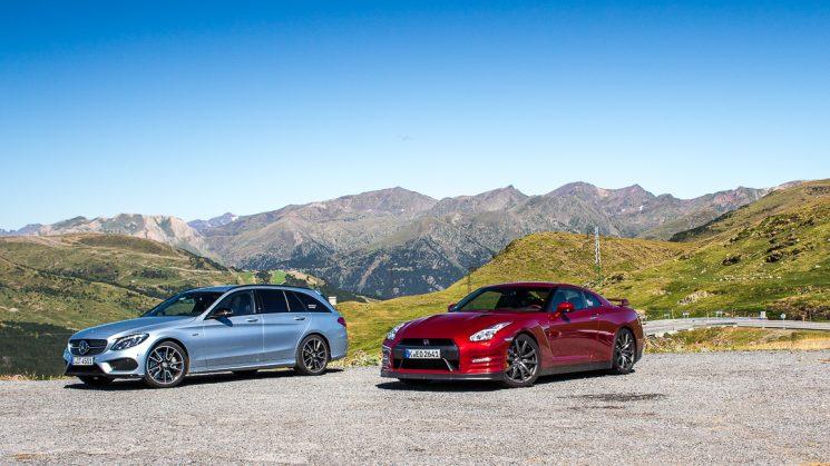 #thepluses3 Pyrenäen Roadtrip - Nissan GT-R und Mercedes-Benz C450 AMG am Port d'Envalira