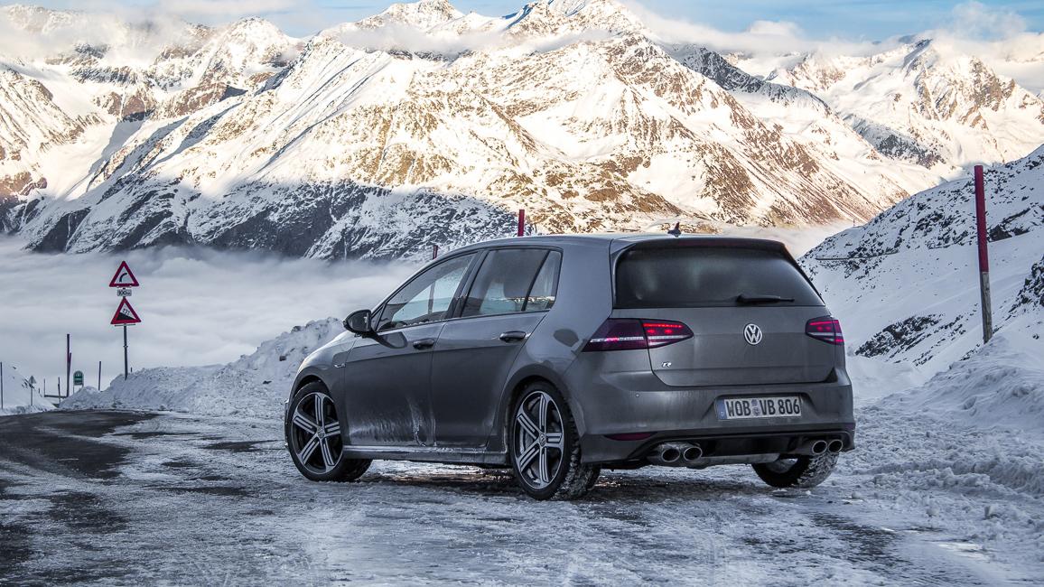 VW Golf R VII Limestone Grey Metallic (Grau) Allrad - Wintersport Test Fahrbericht