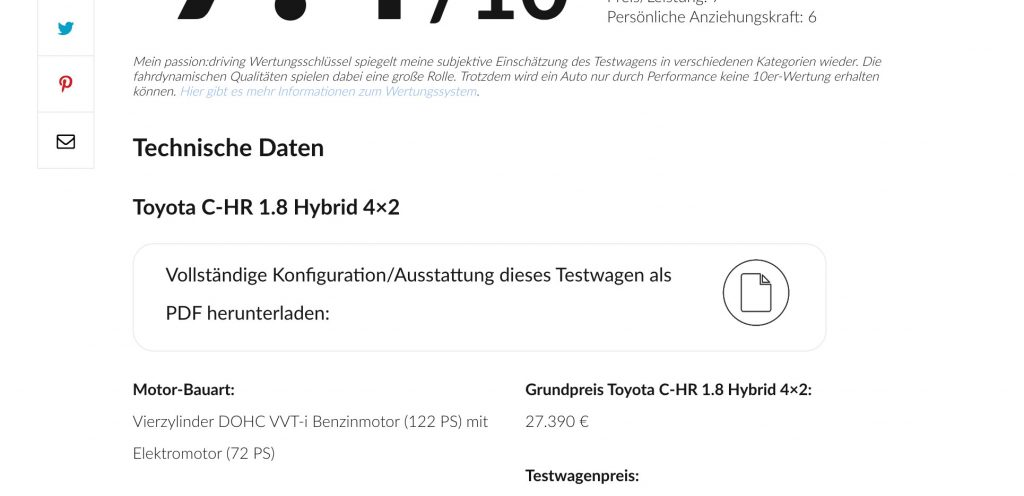 Download der Testwagenkonfiguration als PDF