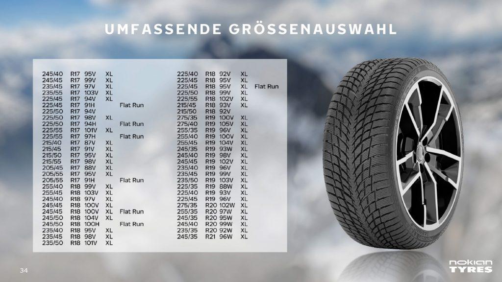 Verfügbare Dimensionen Nokian Snowproof P