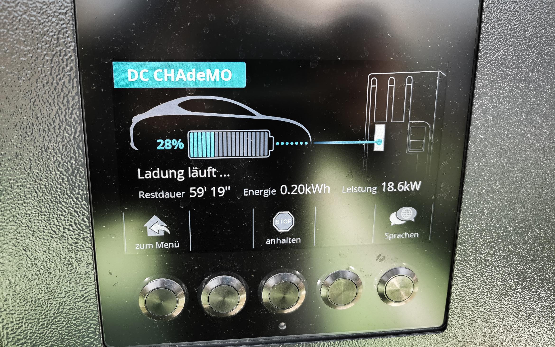 Laden per CHAdeMO - leider nicht schneller als 18 kW